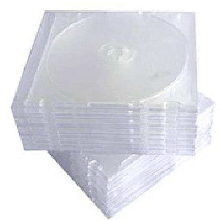 กล่องใส่แผ่น Cd สีขาวใสถาดสีใส สลิม (หนา 5.0 Mm.) แพ็คละ 10 แผ่น.