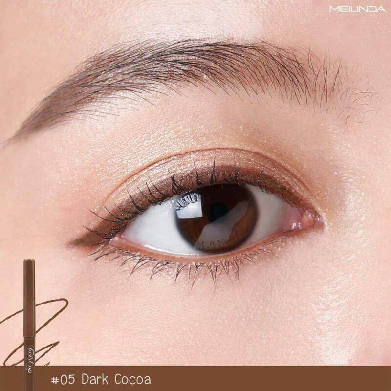 Eyeliner Meilinda Auto 3077-05 Dark Cocoa ดินสอเขียนขอบตาแบบออโต้ เมลินดา สีน้ำตาลโกโก้ เบอร์ 05 กันน้ำ กันน้ำมันใต้ตา.