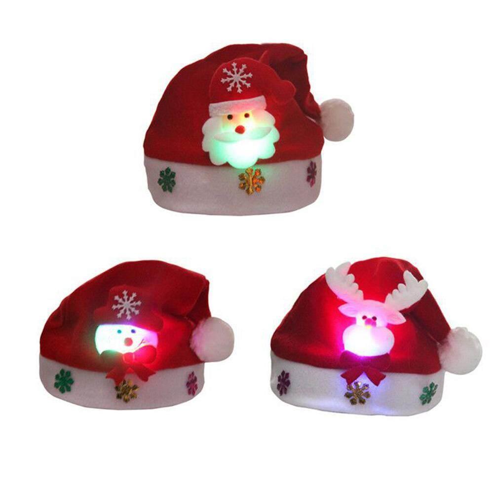 Qh Topi Anak Lucu Topi Natal Anak Anak Natal Hadiah Lampu Gambar Kartun Topi Berkilau Cap Tua Snowman Orang Dewasa Dan Anak Anak Topi Natal