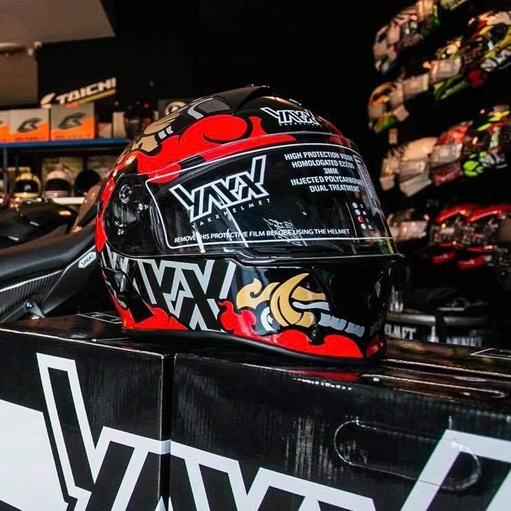 รีวิว Yakx helmet limited edition หมวกกันน็อค ยักษ์ เฮลเม็ท ลายไทย ลายยักษ์ หมวกกันน็อคยักษ์ motorcycle helmet bigbike full face เต็มใบ สีแดง ดำ ทอง