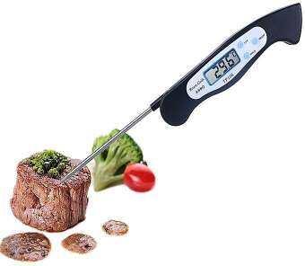 เครื่องวัดอุณหภูมิอาหารแบบจุ่ม เครื่องวัดอุณหภูมิของเหลว เทอร์โมมิเตอร์ ที่วัดดิจิตอลแบบเสียบ แบบปากกา BBQ food thermometer stainless steel prob-