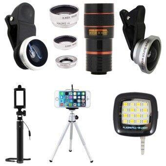 ขาย 1Choice ชุดอุปกรณ์สำหรับถ่ายภาพ สำหรับโทรศัพท์มือถือ Clip Lens 3 In 1 Super Wide 4X Len Zoom 8X ไม้เซลฟี่ ขาตั้งมือถือ 3 ขา มินิแฟลช สีเงิน ไทย