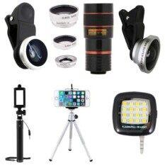 1Choice ชุดอุปกรณ์สำหรับถ่ายภาพ สำหรับโทรศัพท์มือถือ Clip Lens 3 in 1+Super Wide 4X+Len Zoom 8X+ไม้เซลฟี่+ขาตั้งมือถือ 3 ขา+มินิแฟลช (สีเงิน)