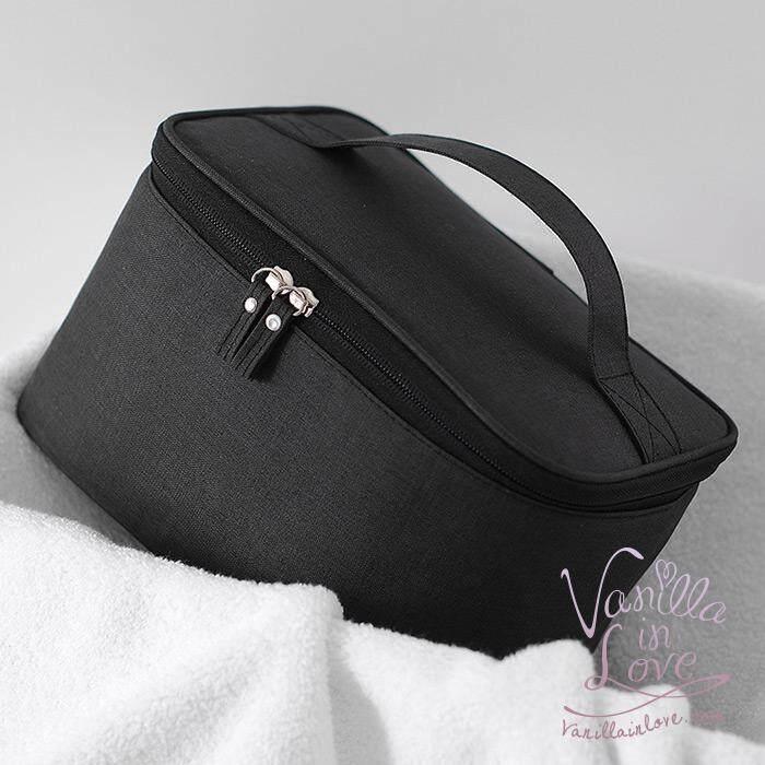 Bg97 กระเป๋าเครื่องสำอางแบบเรียบง่าย เหมาะสำหรับผู้ชาย และ ผู้หญิง สีดำ.