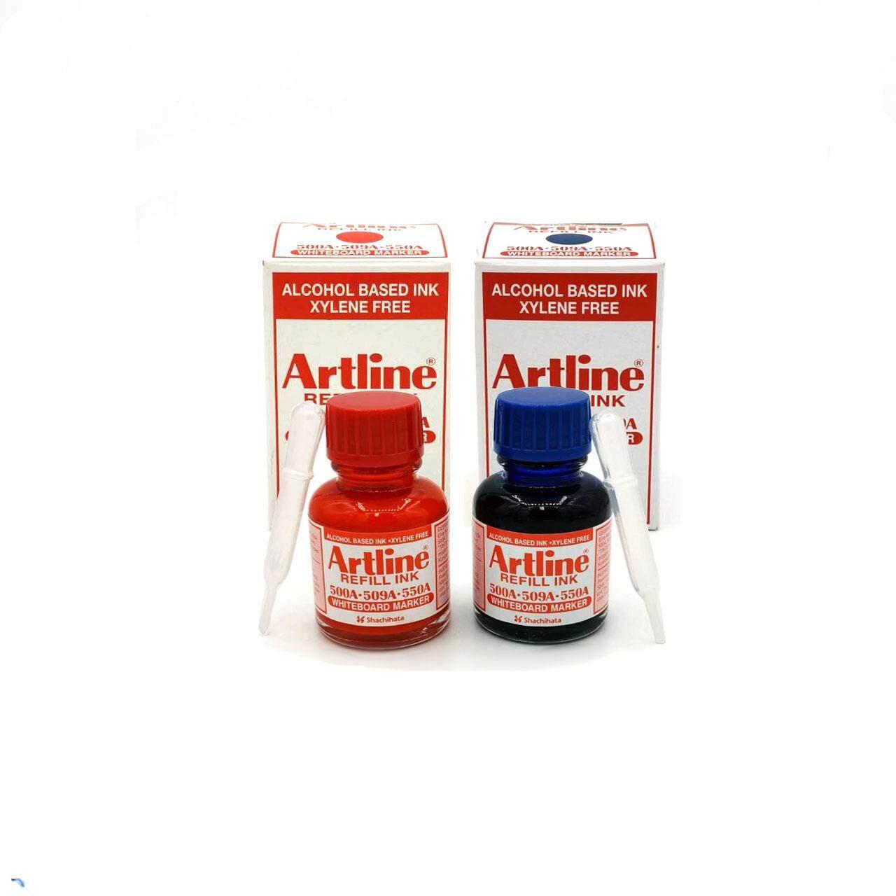 หมึกเติมปากกาไวท์บอร์ด อาร์ทไลน์ 20 มล. ชุด 2 ชิ้น (สีน้ำเงิน , สีแดง) สีเข้ม คมชัด.