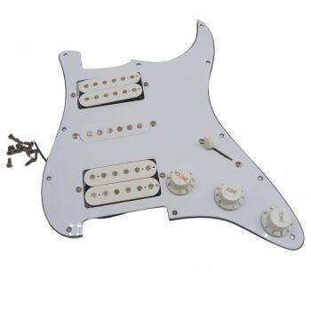 Electric Guitar Pickguard Pickups Loaded Prewired Scratch Plate Assembly HSH White for Humbuckers Guitar