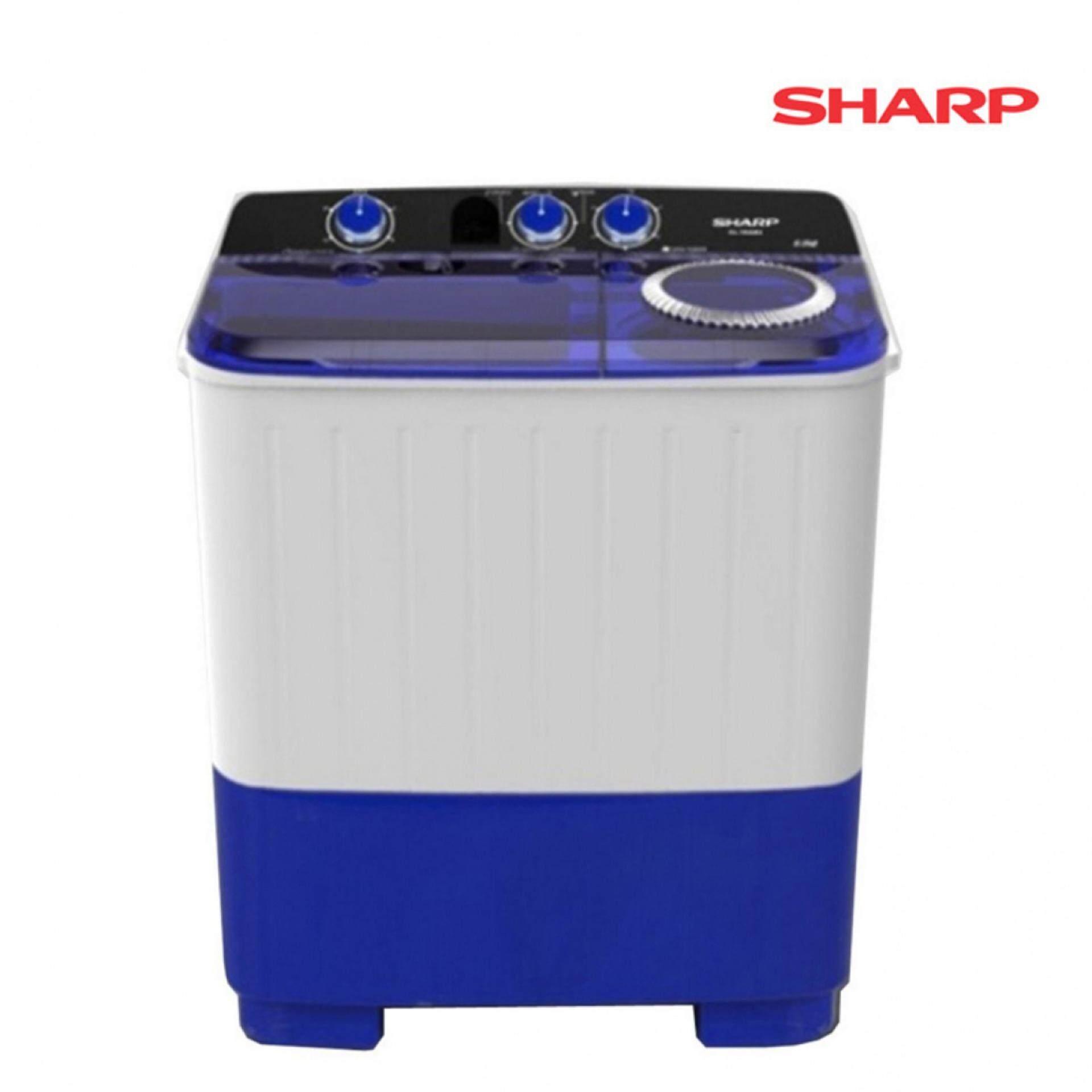 SHARP เครื่องซักผ้า 2 ถัง 7KG รุ่น ES-TW70BL รับประกันมอเตอร์ 10 ปี (1 เครื่อง/1ออเดอร์)