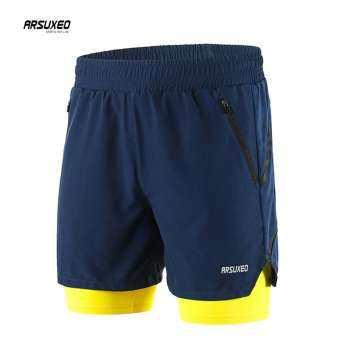 กางเกงออกกำลังกายขาสั้น วิ่ง/ฟิตเนส 2IN1 Doubel Layer มีซับด้านในและกระเป๋าซิปด้านข้าง-