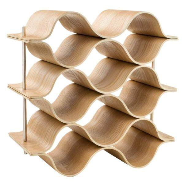 9 Bottle Wooden Wave Wine Rack Freestanding For Table, Bar Or Counter Modern Minimalist Design Sweet And Dry Wines For Small Home Wet Bar