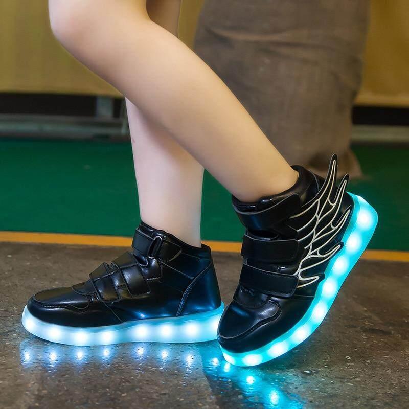 Children Boys Girls LED Light up Shoes Luminous Sneakers Kids USB Recharge