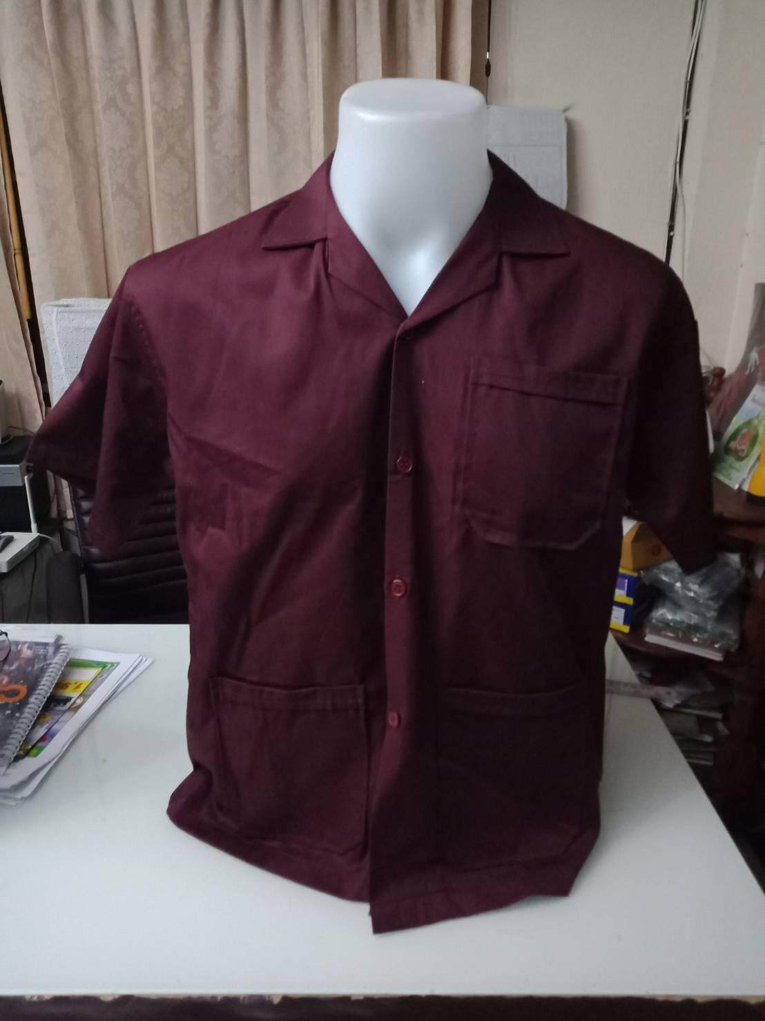 เสื้อช็อปช่างสีเลือดหมู เสื้อช็อปสำเร็จรูป ราคาถูก !!! มีเก็บปลายทาง พร้อมส่ง.