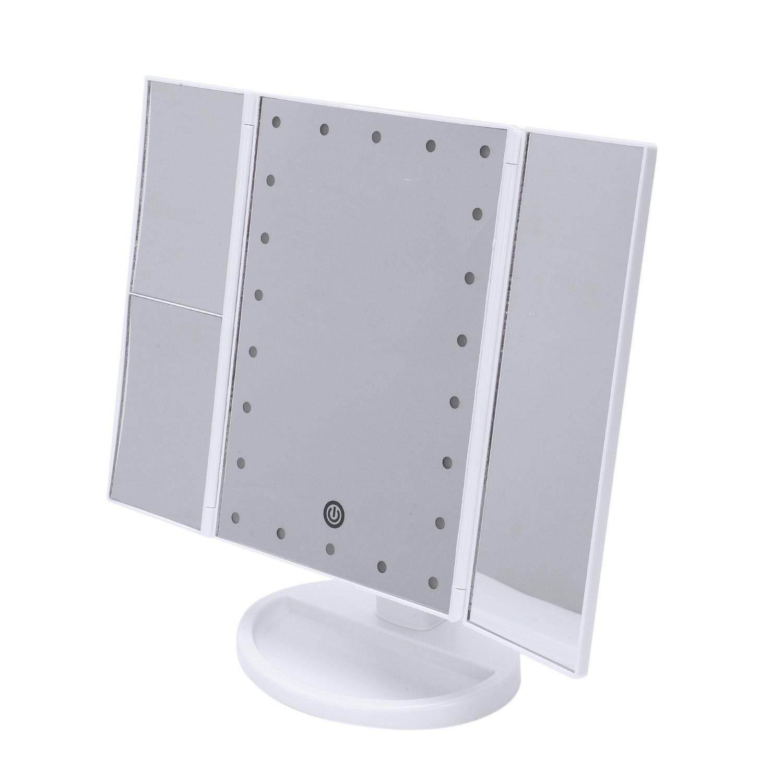 3 Folding 22 Leds Portable Led Makeup Mirror Luminous Desktop Cosmetic Lamp Adjustable Women Lady Make Up Mirrors White