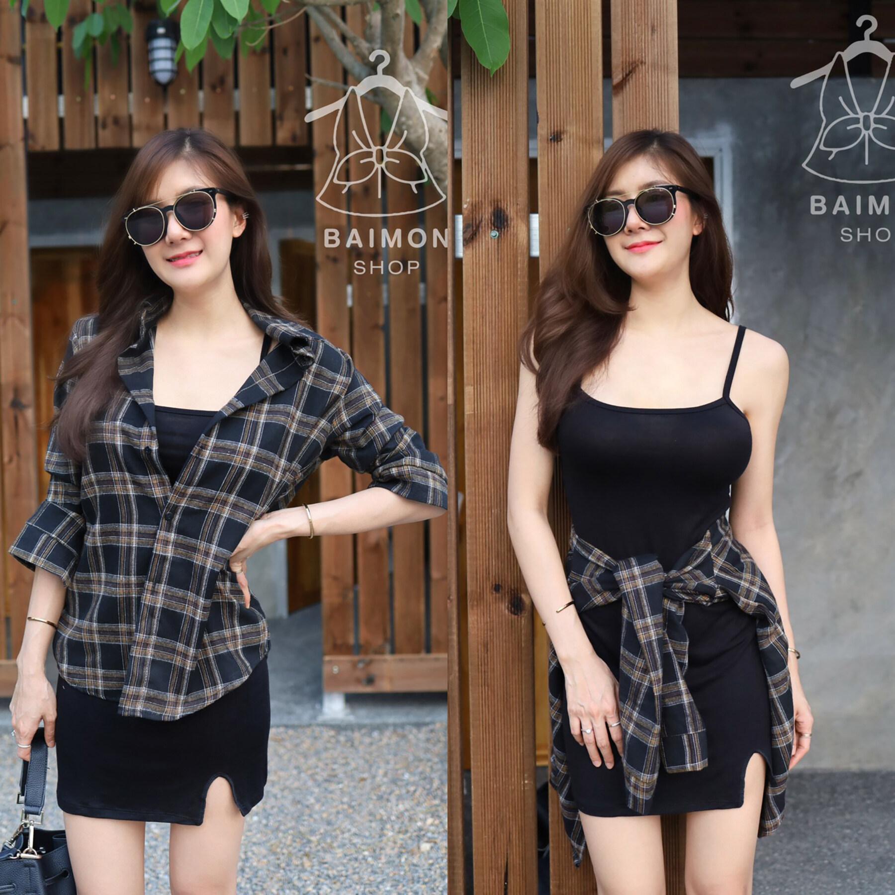 Ba019 Tara Set 2 ชิ้น เสื้อเชิ้ต + เดรสสายเดี่ยว ลายสก็อต ผ้าคอตตอนญี่ปุ่น.
