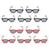 โปรโมชั่น 10 คู่มืออาชีพ 3D แว่นตา 3D ภาพยนตร์วิดีโอเกม Polarizer สีดำ แดง Tinksky