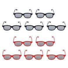 10 คู่มืออาชีพ 3d แว่นตา 3d ภาพยนตร์วิดีโอเกม Polarizer (สีดำ + แดง).