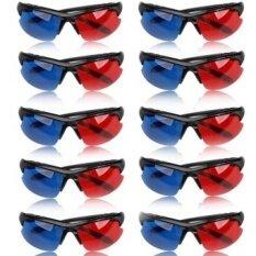 ซื้อ 10Pcs Movie Dvd Dimensional Anaglyph Red Blue Half Frame 3D Vision Glasses Intl Unbranded Generic เป็นต้นฉบับ