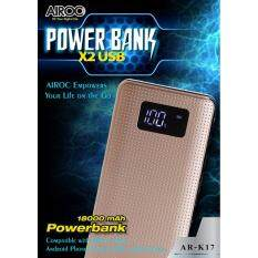 ราคา สีทอง พาวเวอร์แบงค์ความจุไฟมากถึง 18000 Mah Airoc Power Bank จ่ายไฟเต็มกำลัง ดีไซน์สุดหรู ตัวบอดี้ผลิตจากวัสดุ Abs ที่มีความแข็งแรงสูง ทนทาน น้ำหนักเบา วัสดุผิวสัมผัสออกแบบคล้ายกับฝาหลังของโทรศัพท์มือถือซัมซุงหลายๆรุ่น ที่เป็นรุ่น Hi End ทำจากอลูมิเนียม ใหม่ ถูก