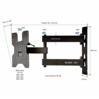 ขาแขวนทีวี 19 - 42 inch LEDLCD TVFull Motion Single-Arm TV Wall Mount รุ่น S42