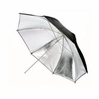 ร่มสะท้อนแสง 2 in 1 - 43\/110cm Black/Silver Photography Reflector Umbrella Studio