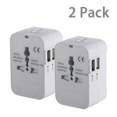 ซื้อ 2 Pack Travel Universal All In One Worldwide Travel Power Plug Wall Ac Adapter Charger With Dual Usb Charging Ports For Usa Eu Uk Aus 2Pack White Intl ออนไลน์ จีน