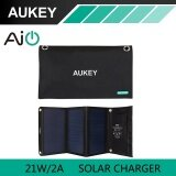 โปรโมชั่น 21W Aukey Solar Charger With Dual Usb Port Foldable Portable Solar Panel For Iphone 6S 7 Plus Android Samsung Htc Lg Nexus Aukey Pb P4 Intl