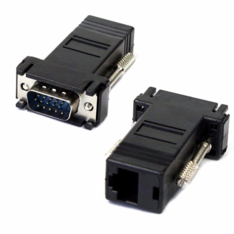 2Pack VGA Extender Male to LAN CAT5 CAT5e CAT6 RJ45 Network Cable Female Adapter