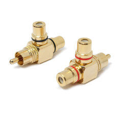 โปรโมชั่น 2Pcs Gold Plated 1 Male To 2 Female Rca Splitter Adapter Av Video Audio T Plug Intl Thailand