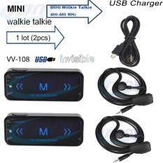 2PCS วิทยุสื่อสาร VV-108 USB Power Mini Portable วิทยุสองระบบ UHF 400-480MHz With ฟรีหูฟัง (สีดำ)