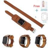 ขาย ซื้อ ออนไลน์ 3 In 1 Genuine Leather Cuff Bracelet Wristwatch Band Strap With Connector For 42Mm Iwatch Apple Watch Gray Intl