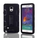 ขาย ซื้อ 3 In 1 Silicone Pc Hybrid Protective Kickstand Stand Case Cover For Samsung Galaxy Note 4 N9100 Black Black ใน จีน