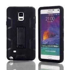 ซื้อ 3 In 1 Silicone Pc Hybrid Protective Kickstand Stand Case Cover For Samsung Galaxy Note 4 N9100 Black Black จีน
