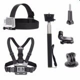 ซื้อ 3 In 1 Universal Waterproof Action Camera Accessories Bundle Kit Head Strap Mount Chest Harness Selfie Stick For Sports Action Camera Intl ถูก ใน จีน
