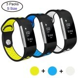 ขาย ซื้อ ออนไลน์ 3 Pcs Soft Silicone Adjustable Fashion Sport Strap For Fit Bit Charge 2 Replacement Fitness Accessory Wristband With Hole Intl