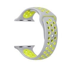 ขาย 42Mm 1 1 Size Strap Silicon Sports Watch Band Strap For Apple Watch Silver And Yellow ถูก ใน จีน