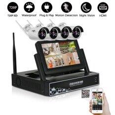 ราคา 4Ch 720P Wireless Cctv System Wireless Nvr Ip Camera Ir Cut Bullet Home Security System Cctv Kit Intl ถูก
