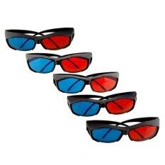 5 X Pcs Black Frame Red Blue 3d Glasses For Dimensional Anaglyph Movie Game Dvd U278 - Intl