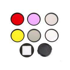 THB 581 52mm Diving Filter Set Adapter Ring Lens Cap UV CPL ND4 Yellow Red Purple Underwater filter for Go Pro Hero4 ...