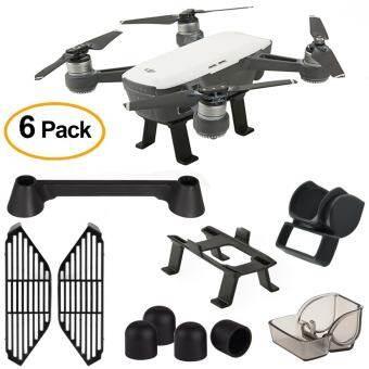6 Pack Accessory Kits for Dji Spark Lens Hood Sunshade, Landing Gear , Gimbal Guard