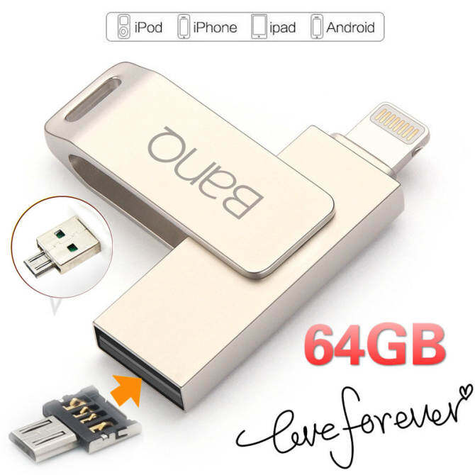 64GB 3 in1 OTG USB Flash Drives Pen Drive For iPhone iPad iPod APPLE MFi JetDrive