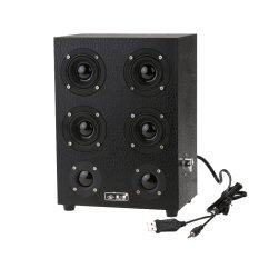 9 4Inch Wooden Leather 3 5Mm Speaker Music Stereo Sound System Hifi Subwoofer Black Intl ใน จีน