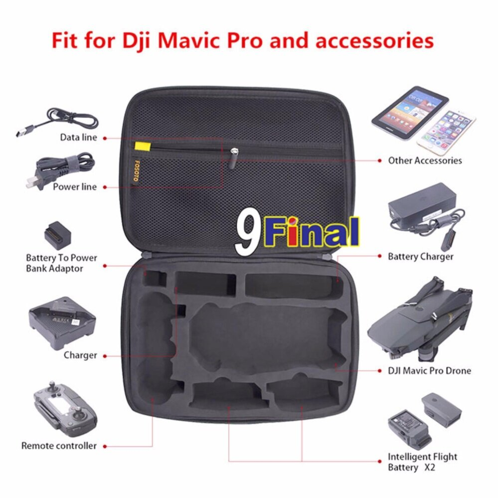 9FINAL กระเป๋ากล้องโดรน กระเป๋าโดรน DJI Mavic Pro Case Drone Bag for DJI Mavic Pro EVA Hard Portable Bags Shoulder Foldable Portable Remote Controller Box