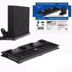 แท่นวาง ที่ชาร์ท พัดลม PS4 Pro Cooling Station Vertical Stand with 2 Controller Charging Dock PlayStation 4 Pro 2 Cooling Fans+2 Charging Port+3 USB Port