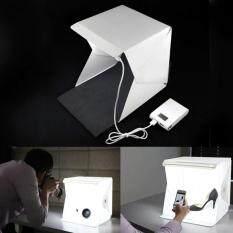 ali กล่องไฟLEDถ่ายรูปสินค้า ไฟLED 20ดวง สว่าง ถ่ายรูปสวย คมชัด ครบเซท พื้นดำ ขาว ในตัว ขนาด226x230x240 mm