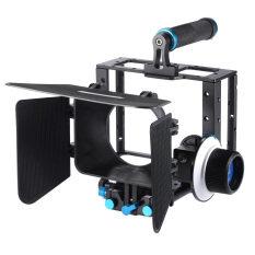 ขาย อะลูมิเนียมเจือ Dslr ฟิล์มภาพยนตร์วิดีโอชุดให้ด้วยเสื้อยึดกล้องจัดการกรง 15มมกล่องไม้เคลือบเซ็ต Follow Focus สำหรับ Dslr กล้องแคมคอร์ดเดอร์ ในประเทศ ออนไลน์