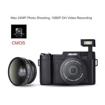 Amkov AMK-R2 24MP 1080P 3.0\ LCD Rotatable Screen Digital SLR DV Recorder Camera Black - intl