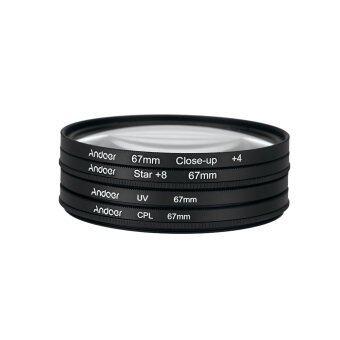 Andoer 67มม UV+CPL+ใกล้ชิด+4+ดาว 8 จุดวงกลมชุดตัวกรองตัวแมโครโพลาไรประชิดดาว 8 จุดรั่วด้วยกระเป๋าสำหรับ Nikon Canon Pentax Sony DSLR กล้อง