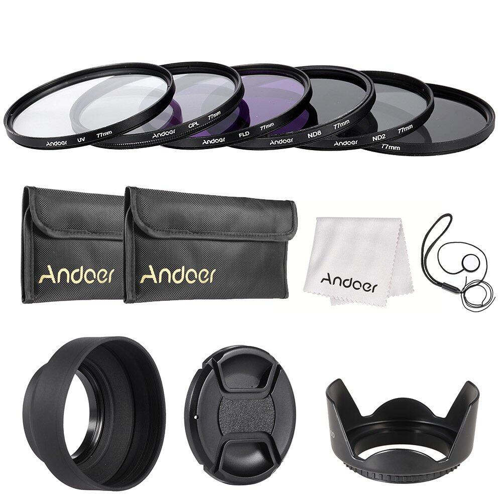 Andoer 77mm Lens Filter Kit UV+CPL+FLD+ND(ND2 ND4 ND8) with Carry Pouch / Lens Cap / Lens Cap Holder / Tulip & Rubber Lens Hoods / Cleaning Cloth Outdoorfree – INTL