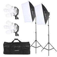 ขาย ซื้อ Andoer สตูดิโอชุดถ่ายภาพแสง 2 Softbox 2 4In1 ซ็อกเก็ต 8 45 วัตต์หลอดไฟ 2 ขาตั้งไฟ 1 กระเป๋าถือ ใน จีน