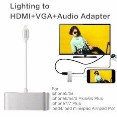 Original Lighting to HDMI/VGA/CVBS(AV)/3.5mm Audio Adapter รองรับ IOS 8/9/10/11  with Micro USB Power Supply for iPhone 7 Plus 6s 6 Plus 5 5s iPad 4 mini