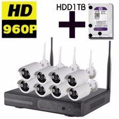 Arexit กล้องวงจรปิด 960P Wireless  IP Camera NVR Kit CCTV 8CH พร้อมHDD1T